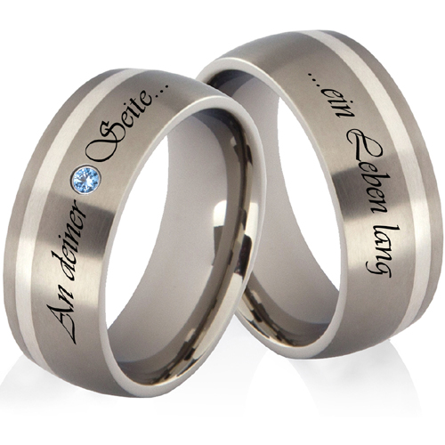 2 Ringe Titanringe Verlobungsringe Eheringe Trauringe mit Silber /& Lasergravur