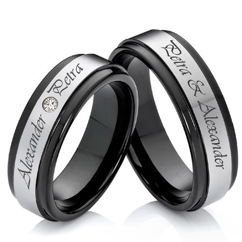 ... Verlobungsring e Partnerringe aus Wolfram mit Ringe Lasergravur W746